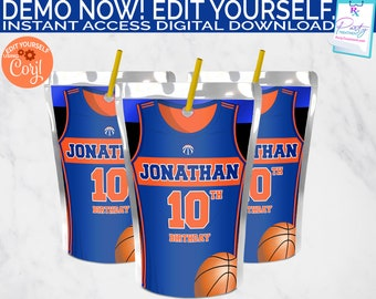 Basketball Juice Label, Blue and Orange Basketball Party Juice Pouch Party Favor, INSTANT DOWNLOAD