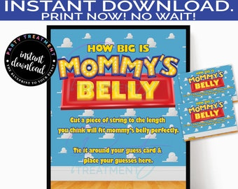 Boy Story How Big Is Mommy's Belly Guessing Game, How Big is the Bump Printable Game sign and Guessing Card, INSTANT DOWNLOAD