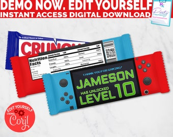 Editable Video Game Chocolate Bar Wrapper, Gamer Party Favor chocolate wrapper, Video Game Candy Wrapper, INSTANT ACCESS download