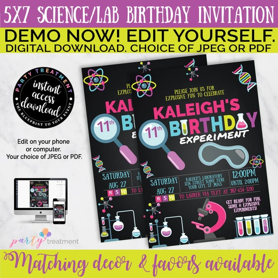 Treat Bag Toppers Personalize Science Party Girl Birthday Digital Pdf file Self Editable Instant Download Birthday Party Printable
