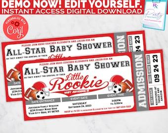 Little Rookie Baby Shower Invitation, allstar baby shower ticket invitation, red sports baby shower invite  INSTANT DOWNLOAD