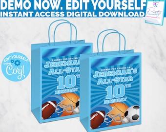 Editable All Star Sports Gift Bag label, allstar favor bag label, sports birthday party favor label, sports baby shower gift bag label