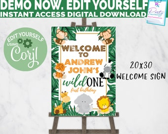 Editable Wild One Welcome Sign Instant Download, Safari Animal Birthday Sign, Welcome Party Sign, Wild Jungle Animal Birthday INSTANT ACCESS