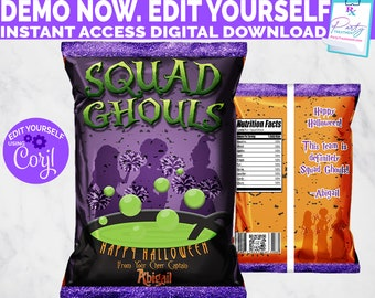 Halloween Cheer Party Favor Chip Bag, Squad Ghouls Cheerleading Favor, Cheerleading Treat Bag Digital Template, INSTANT DOWNLOAD