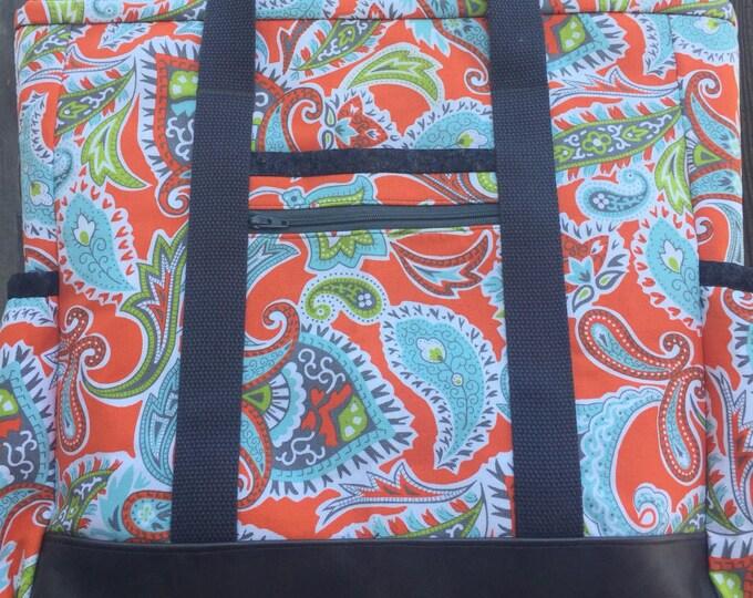 Leather Bottom Large Tote Bag with Pockets for teacher, nurse, travel, work, professional, diaper bag, knitting bag