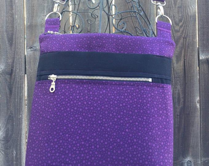 Cross Body Bag, Across The Body Bag, Purple Cross Body Purse, Adjustable strap, long handle purse, Travel Purse, Zippered Purse