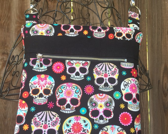 Cross Body Bag, Across The Body Bag, Sugar Skulls Cross Body Purse, Adjustable strap, long handle purse, Travel Purse, Zippered Purse
