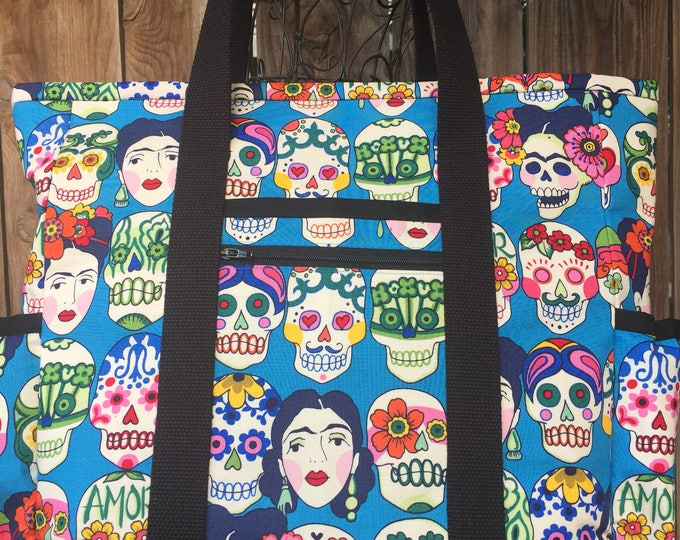 Teacher Tote Bag, Sugar Skull Travel Tote, Leather Bottom Large Tote Bag with Pockets, Diaper Bag, Professional Tote, Nurse Tote Bag