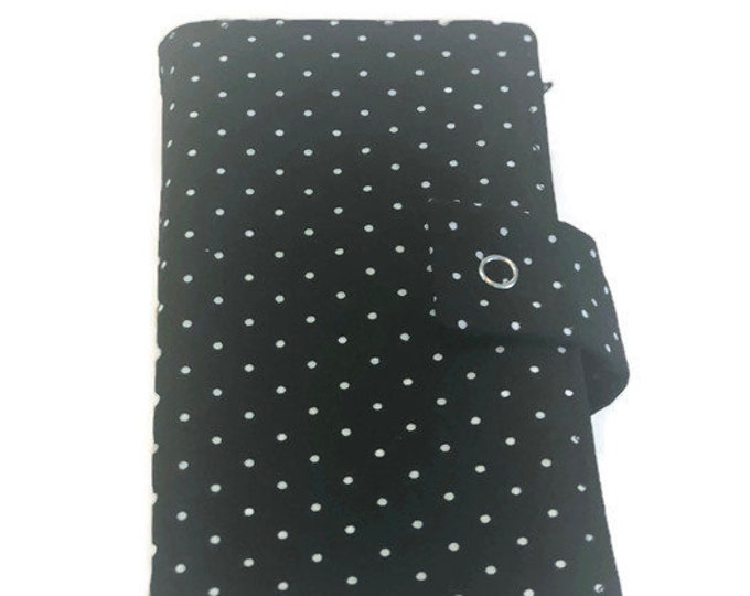 Cash Budgeting System Wallet, Dave Ramsey Envelope Budget Wallet, Black White Polka Dot Zippered Envelope Wallet, 2 4 6 or 8 Fabric Envelope