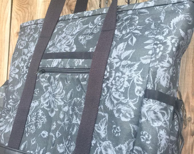 Leather Bottom Fabric Teacher Tote Bag, Nurse Tote Bag, Large Zippered Tote Bag with Pockets, Travel Tote Bag, diaper bag