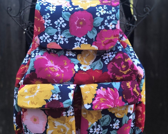 Fabric backpack purse, medium size soft backpack, Floral fabric backpack with pockets, Travel bag with adjustable straps