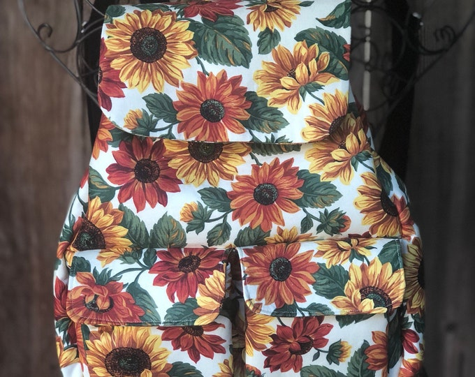 Fabric backpack purse, medium size soft backpack, Sunflower fabric backpack with pockets, Travel bag with adjustable straps