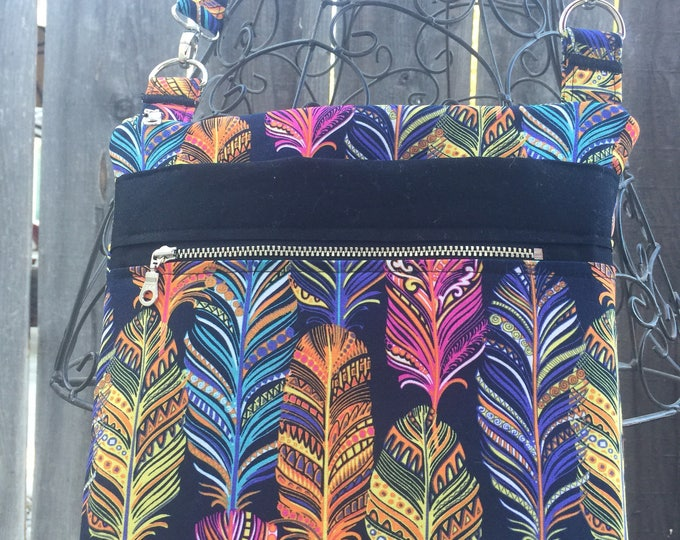Cross Body Bag, Across The Body Bag, Rainbow Feathers Cross Body Purse, Adjustable strap, long handle purse, Travel Purse, Zippered Purse