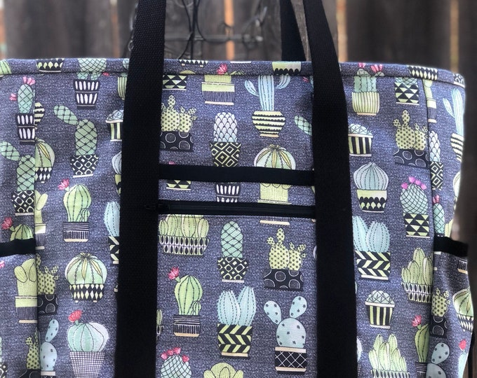 Large Teacher Tote Bag, Cactus Zippered Nurse Tote Bag with Pockets, Cacti Carry On, Travel Tote, Diaper Bag, Work Tote Bag, Kitchen Sink