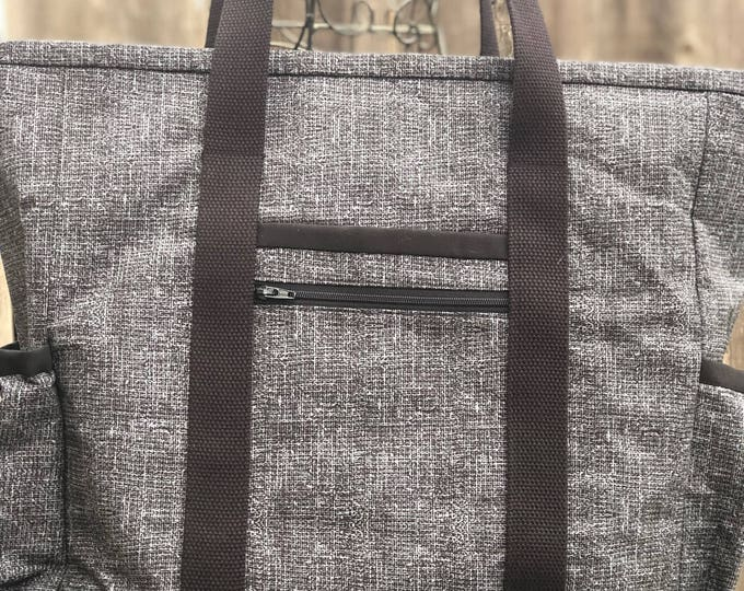 Large Teacher Tote Bag, Zippered Nurse Tote Bag with Pockets, Carry On, Travel Tote, Diaper Bag, Work Tote Bag, Kitchen Sink Tote