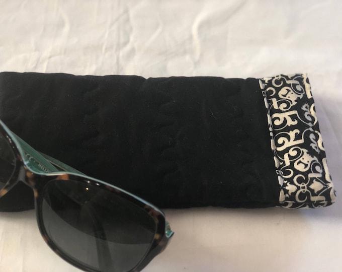 Soft sided sunglasses case, black and white Pinch Open Sunglass Case, Padded Glasses Case, Easy Open/Close Sunglasses Case