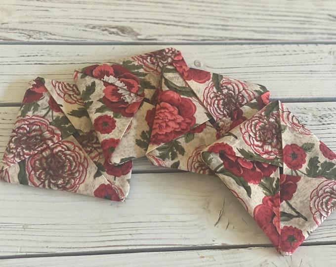 Coasters, Set of four absorbent fabric protective coasters, mug rugs