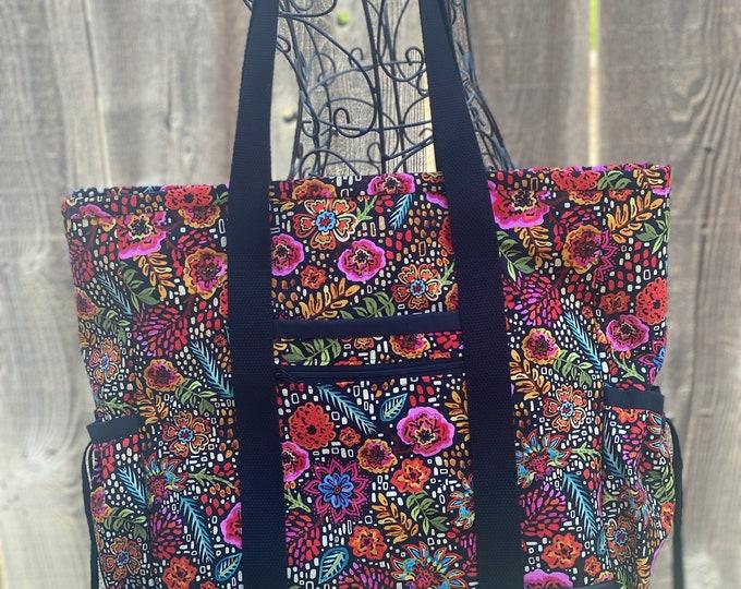 Tote Bag with Pockets, Nurse Tote, Teacher Bag, Diaper Bag, Work Bag, Floral Professional Tote, Teacher Tote, Kitchen Sink Tote