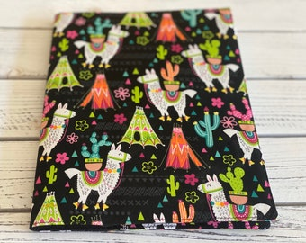 Journal, Notebook cover, Travel journal, Llama cactus Journal, Reuseable fabric book cover, Dream journal, Gift for travel lovers