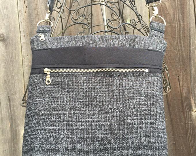Cross Body Bag, Across The Body Bag, Black and Grey Cross Body Purse, Adjustable strap, long handle purse, Travel Purse, Zippered Purse