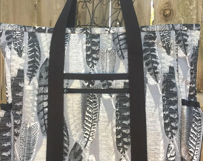 Feather Knitting Bag, Teacher tote bag with pockets and zippers, Travel tote, Nurse Bag,  Kitchen Sink Tote, Diaper Bag, Carry On Bag