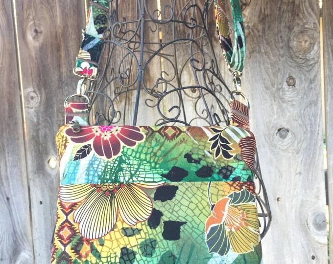 Small Cross the Body Bag, Zippered Cross Body Bag, Adjustable strap, long handle purse, Travel Purse, Hawaiian Flower Across the Body Bag