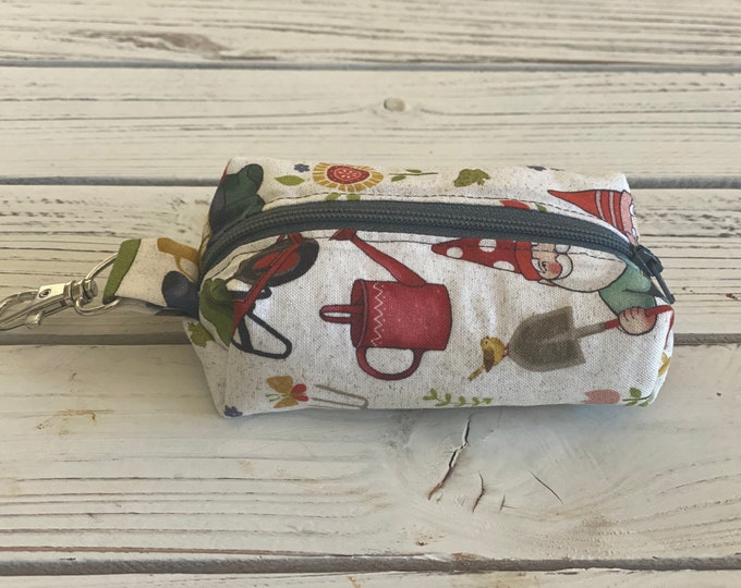 Padded essential oil pouch, Keychain roller ball holder, Lobster clasp essential oil carrier, Garden Gnomes Travel essential oil accessories