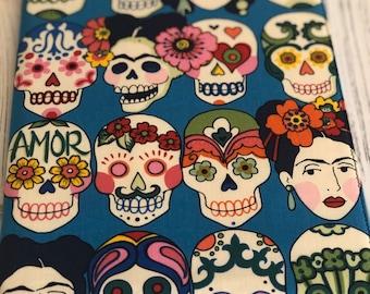 Journal, Notebook cover, Travel journal, Sugar Skull Journal, Reuseable fabric book cover, Dream journal, Gift for travel lovers