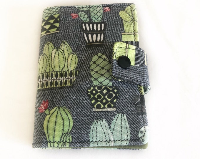 Passport Cover, Cactus Passport Wallet, Fabric Cacti Passport Holder, Snap Closure Pocket Passport Cover, Travel Accessory, Travel Gift