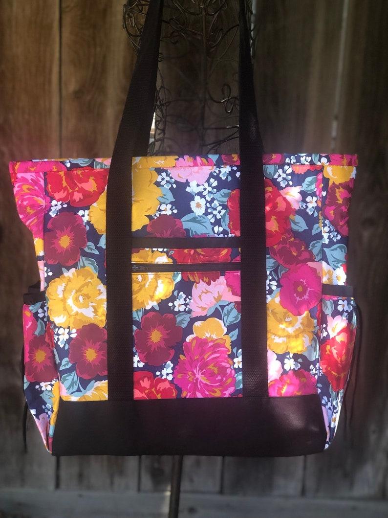 Tote Bag with Pockets Nurse Tote Teacher Bag Diaper Bag image 0