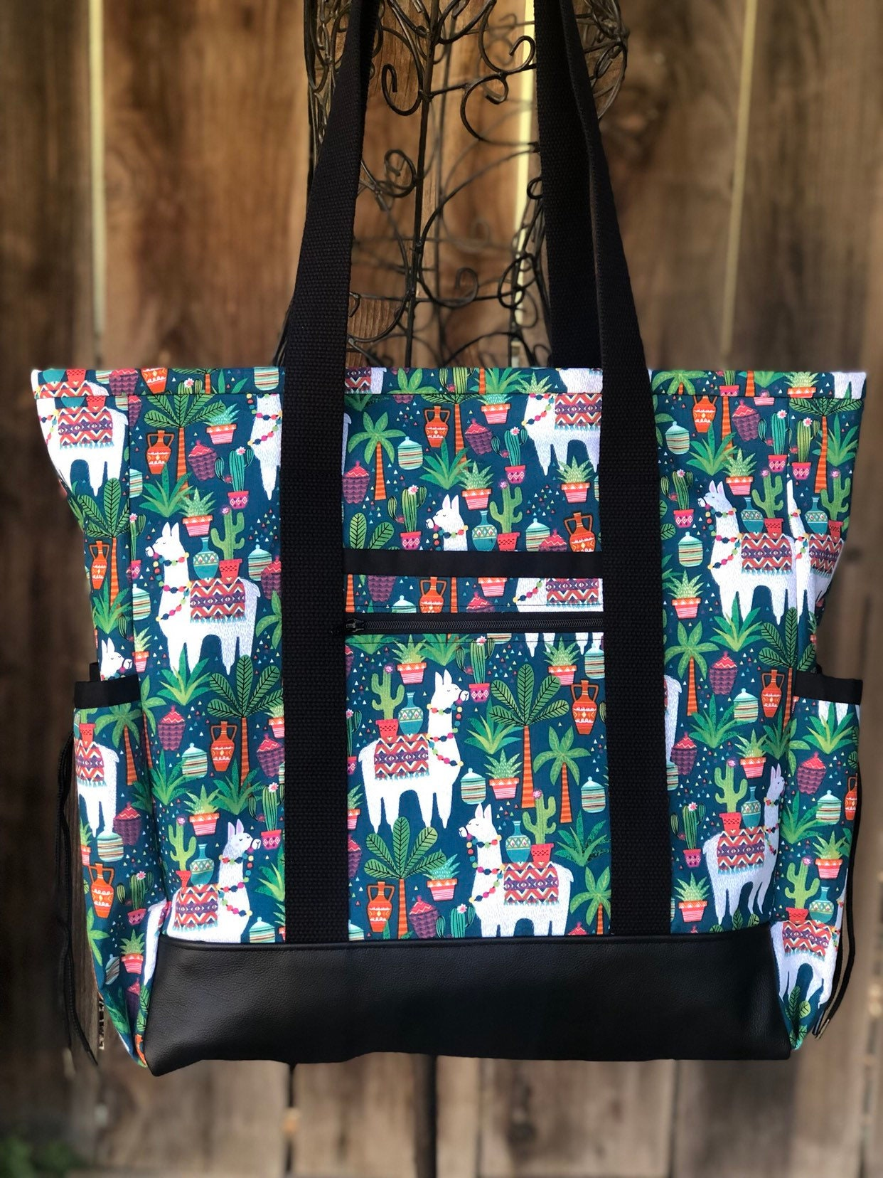 f24b51650015 Large Teacher Tote Bag, Llama Cactus Zippered Nurse Tote Bag with ...