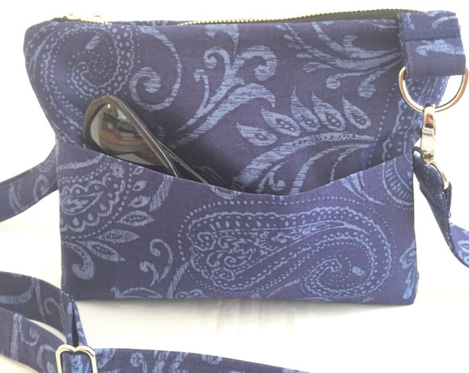 Small Cross the Body Bag, Zippered Cross the Body Bag, Adjustable strap, long handle purse, Travel Purse, Navy Blue Across the Body Bag