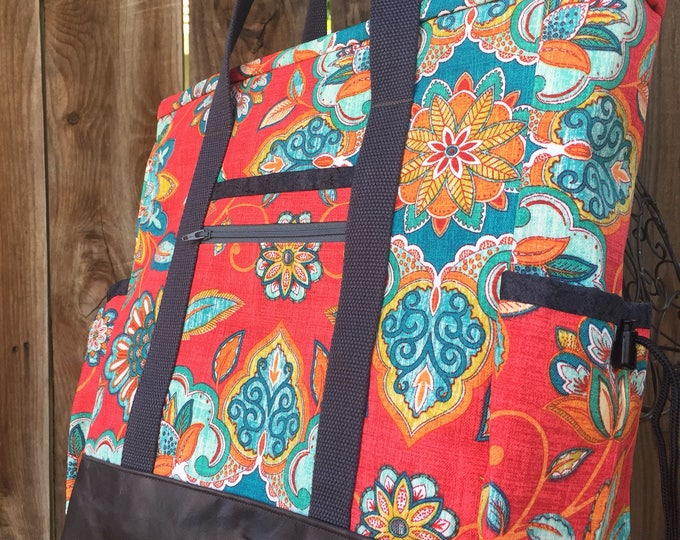 Teacher Tote Bag, Knitting Bag, Large Zippered Travel Tote with Pockets, Diaper Bag, Professional Tote, Nurse Tote Bag, Carry On Bag