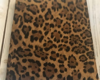 Journal, Notebook cover, Travel journal, Leopard Print Journal, Reuseable fabric book cover, Dream journal, Gift for travel lovers