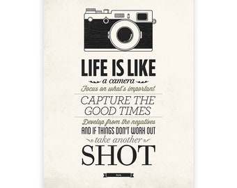 Life Is Like A Camera, Vintage Sign, Inspirational Quote Poster, Encouraging Quotes, Camera Print, Quote Prints, Camera Print