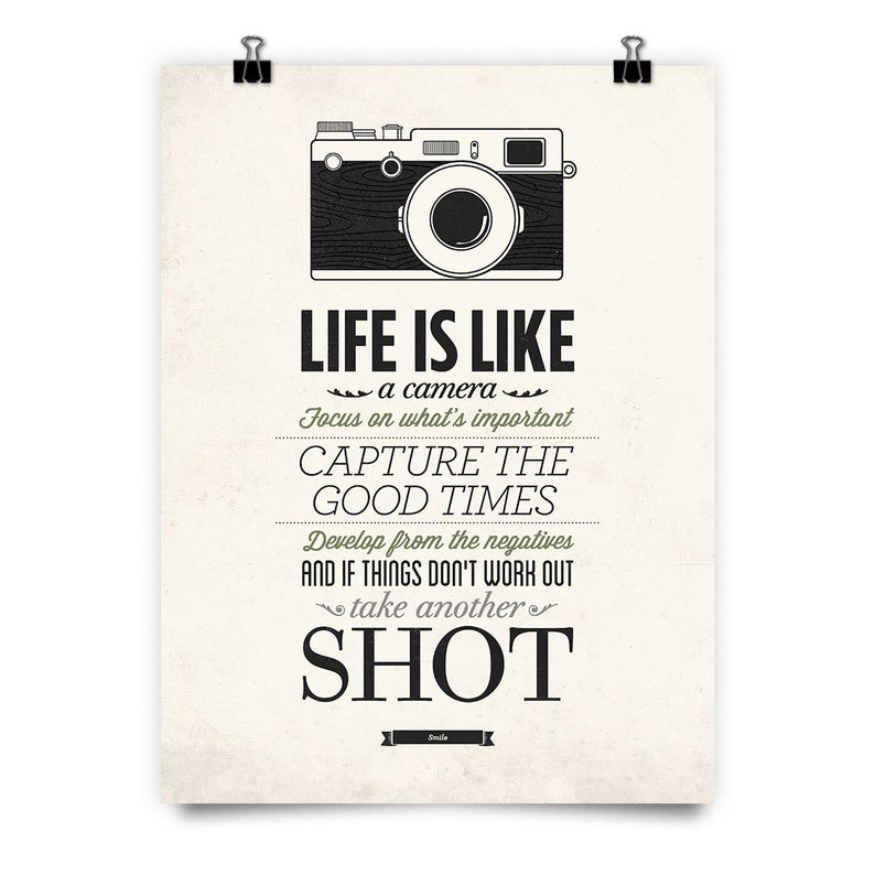 Life Is Like A Camera Vintage Sign Inspirational Quote Etsy
