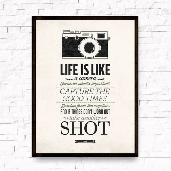 Life Is Like A Camera Vintage Sign Inspirational Quote Etsy Unique Life Quote Poster