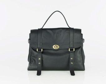 Black leather messenger bag - Leather satchel - Laptop messenger bag - Leather Briefcase - MELINA bag