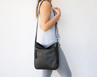 Black crossbody bag for women in genuine leather - Large crossbody purse -  Soft shoulder bag - STELLA bc564151841b2