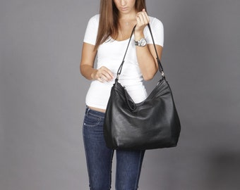 Leather hobo bag  - Black hobo bag - Large leather hobo bag - LARGE HELEN
