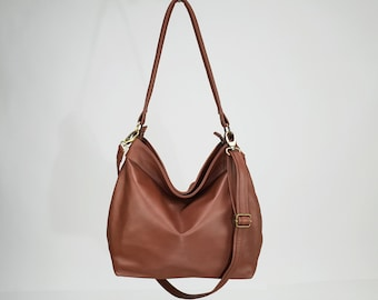 f6dec24db89d Soft and slouchy brown leather purse - Large hobo bag for women - MEDIUM  HELEN