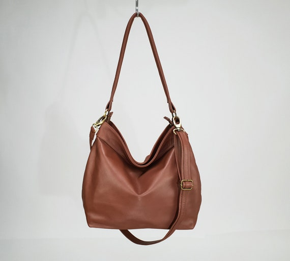 f487e3b18ca Soft and slouchy brown leather purse Large hobo bag for   Etsy