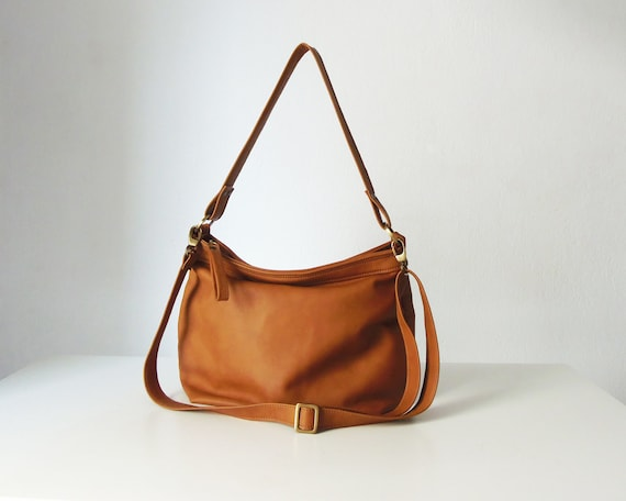Tan leather hobo bag Leather hobo purse Soft leather bag  91d25f249095c