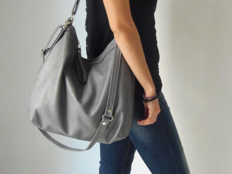 48d5a0fdd6e4 Grey leather bag Leather hobo bag Soft leather bag   Etsy
