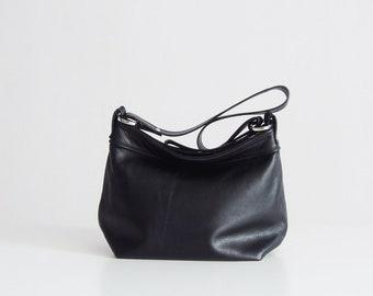 Black leather purse - Black hobo bag  - Black women bags-  MEDIUM HELEN bag