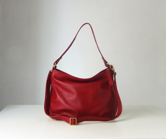f0f16bb002 Red leather bag Soft leather bag Leather hobo bag
