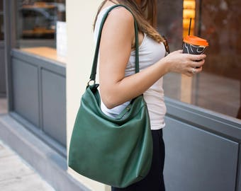 Green leather purse - Everyday leather bag - Leather hobo bag - MEDIUM HELEN bag