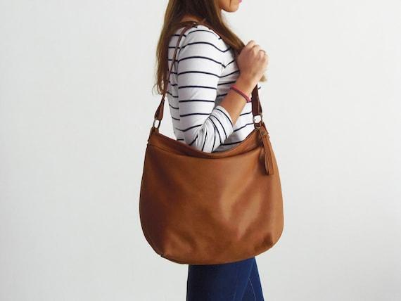 9e613562518 Tan hobo purse Tan soft leather bag Leather hobo bag   Etsy
