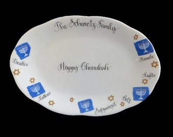 round trivet Chanukkah gift,challah board driedel Jewish gift menorah tempered glass judaica home decor Latke platter Hanukkah plate