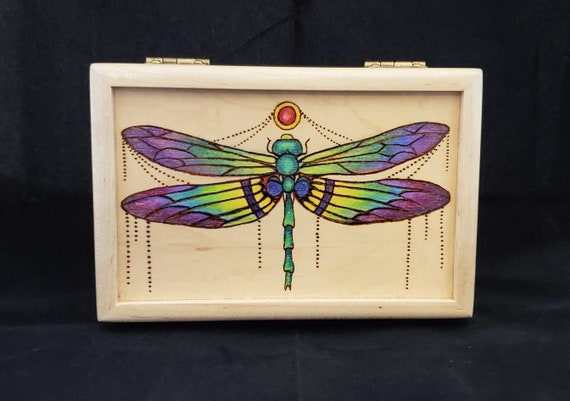 Dragonfly jewellery box gift for her, memory box wooden box keepsake box